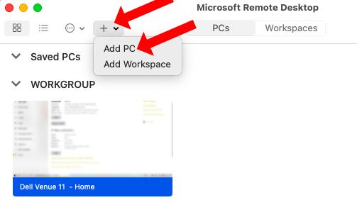 Add a PC to Remote Desktop