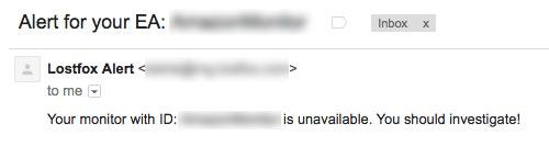 Trading VPS alert email exmaple