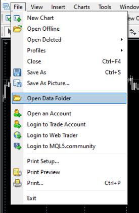 Open MT4 data folder