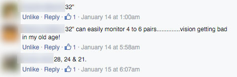 Facebook comments about monitor size