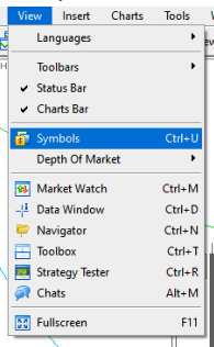 MT5 menu - symbols settings