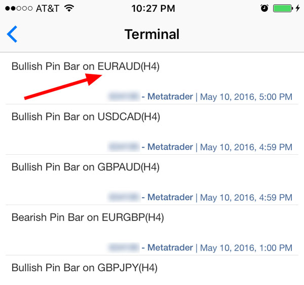 Pin bar alerts on iPhone