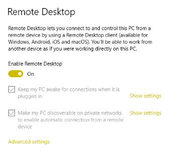 Turn on Remote Desktop