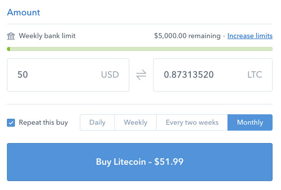 Litecoin monthly buy on Coinbase