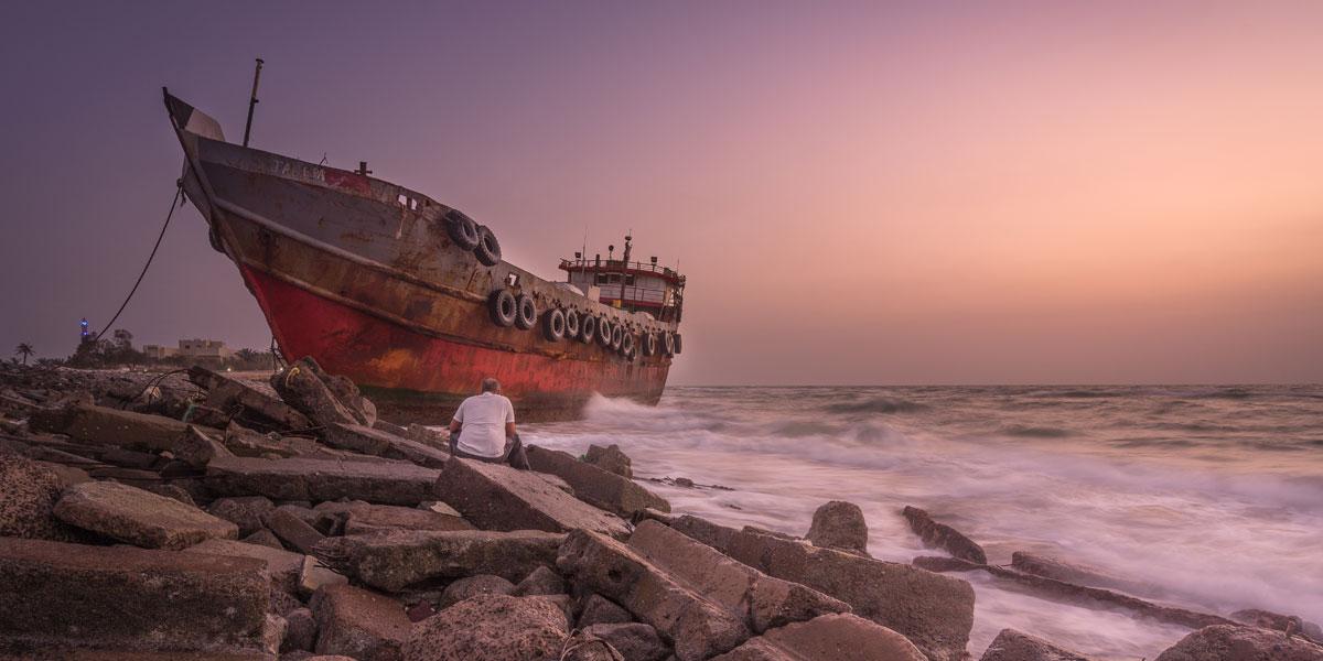 Ship run aground