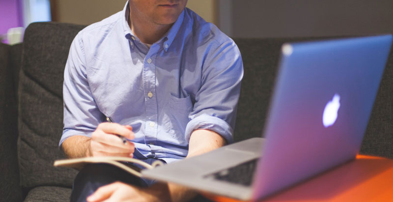 Trader at computer