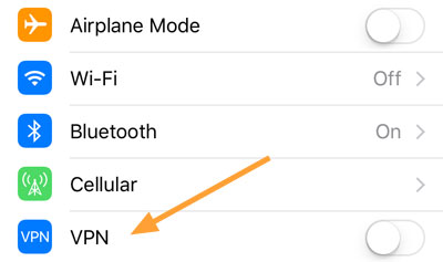 VPN switch on iPhone
