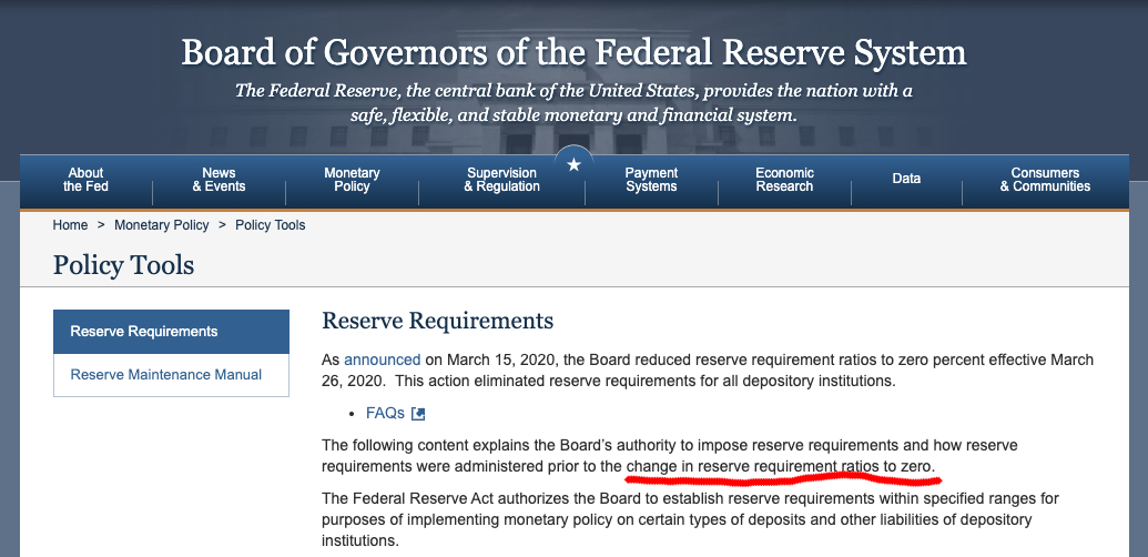 Banking reserve requirements to zero